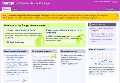 Bango Analytics Welcome Screen