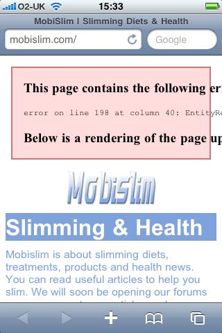 Screen shot showing my broken site after adding Google mobile analytics code to mobislim